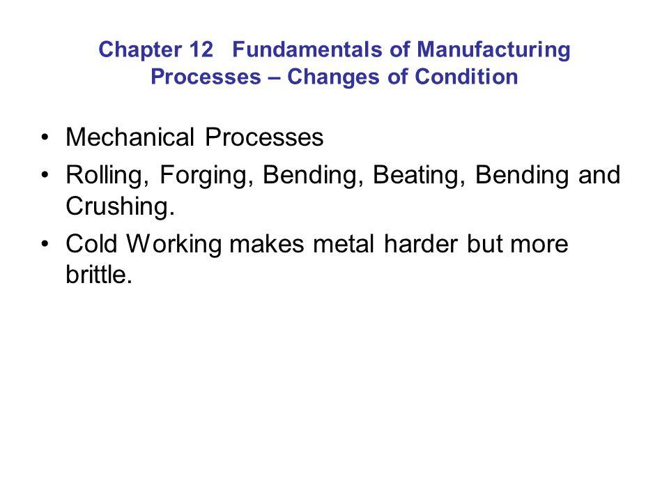Rolling, Forging, Bending, Beating, Bending and Crushing.