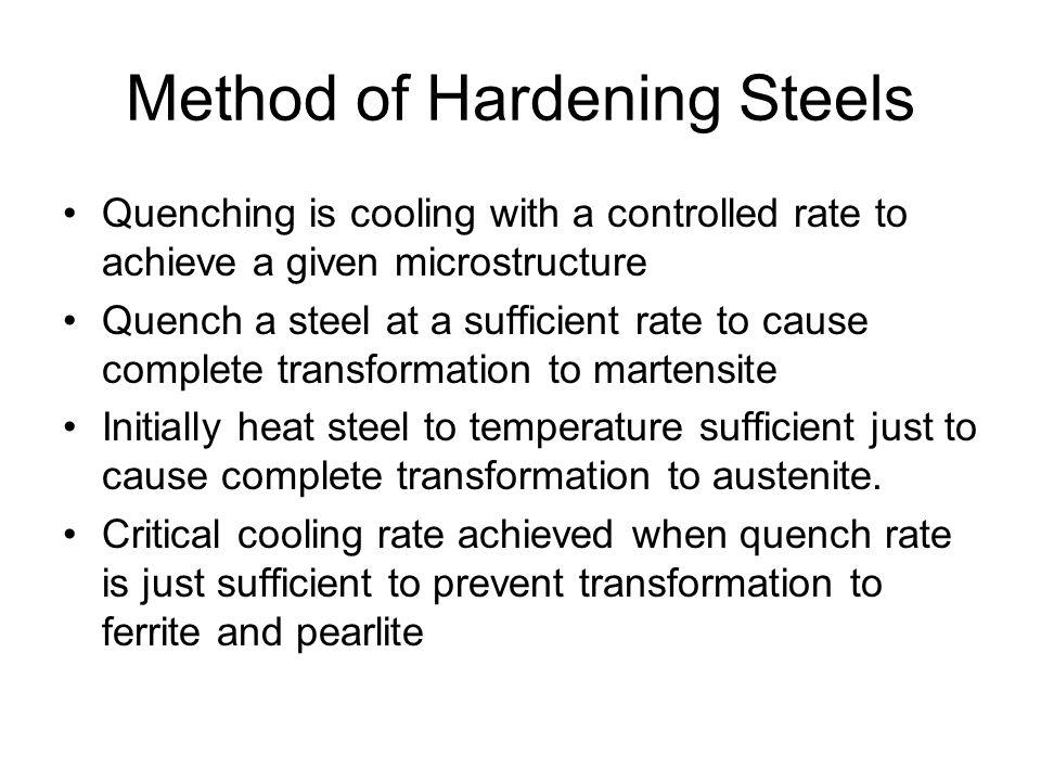 Method of Hardening Steels