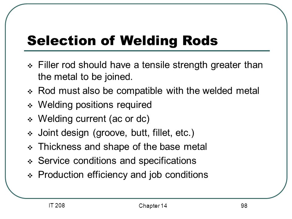 Selection of Welding Rods