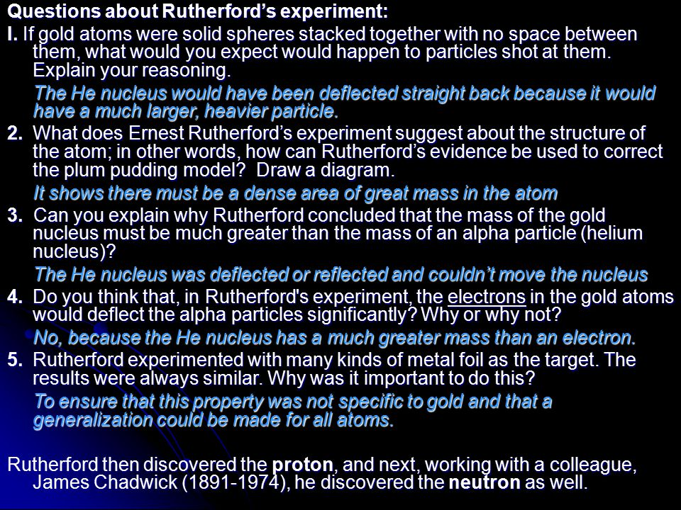 Questions about Rutherford's experiment: