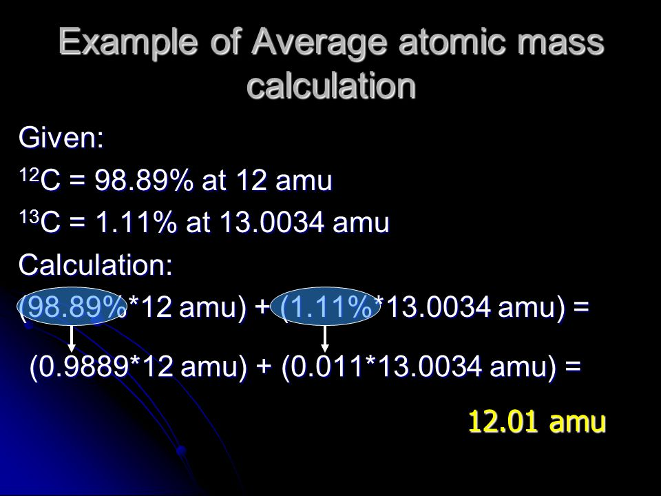 Example of Average atomic mass calculation