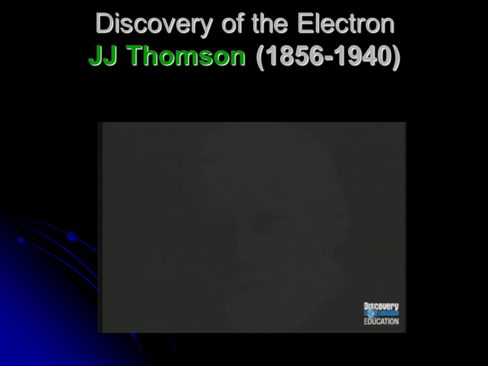 Discovery of the Electron JJ Thomson (1856-1940)