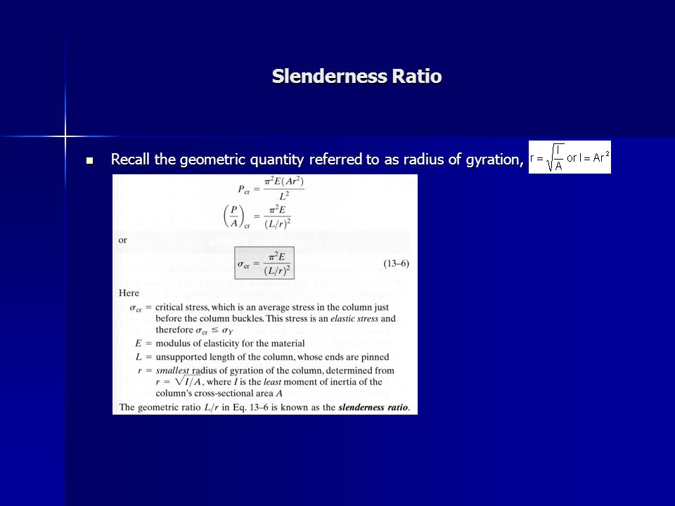 Slenderness Ratio Recall the geometric quantity referred to as radius of gyration,
