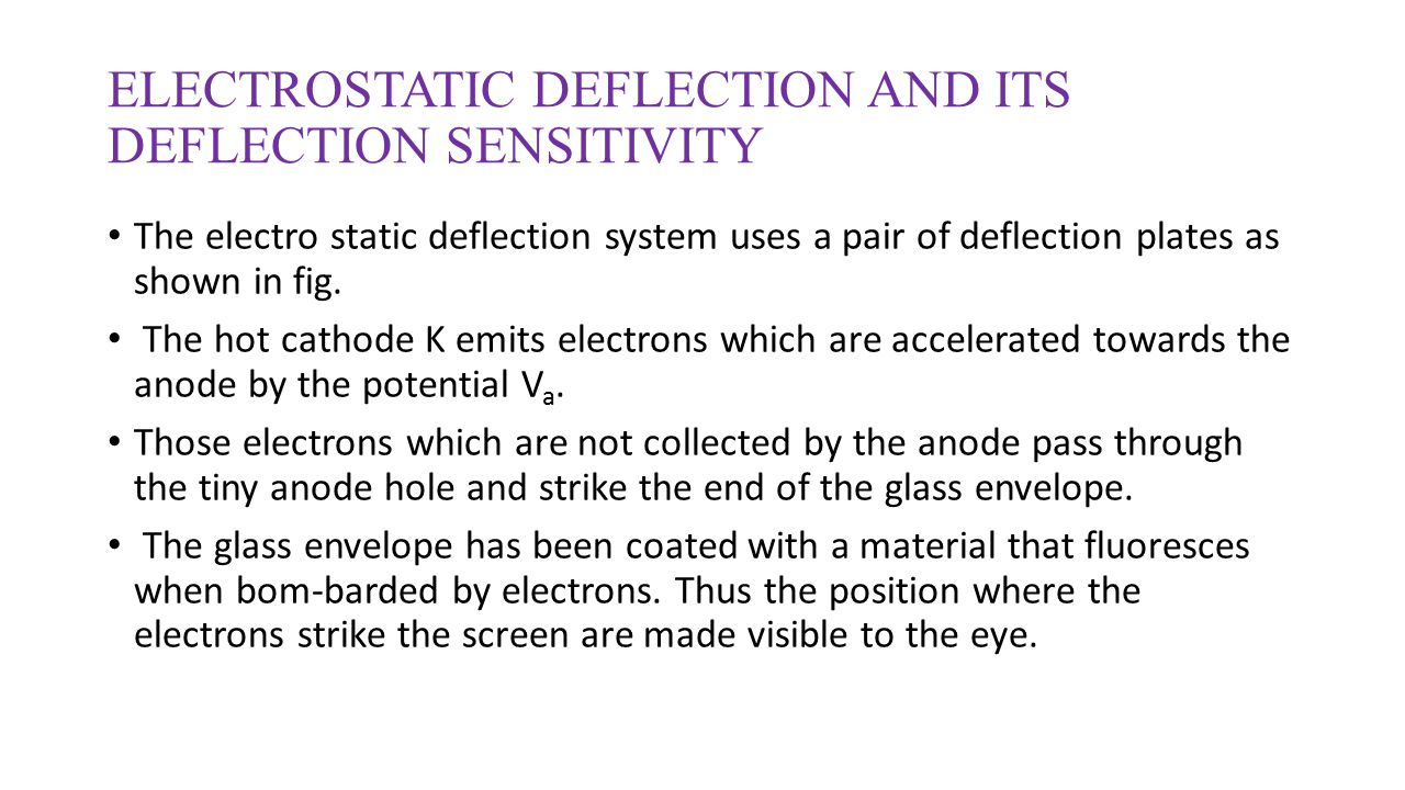 ELECTROSTATIC DEFLECTION AND ITS DEFLECTION SENSITIVITY