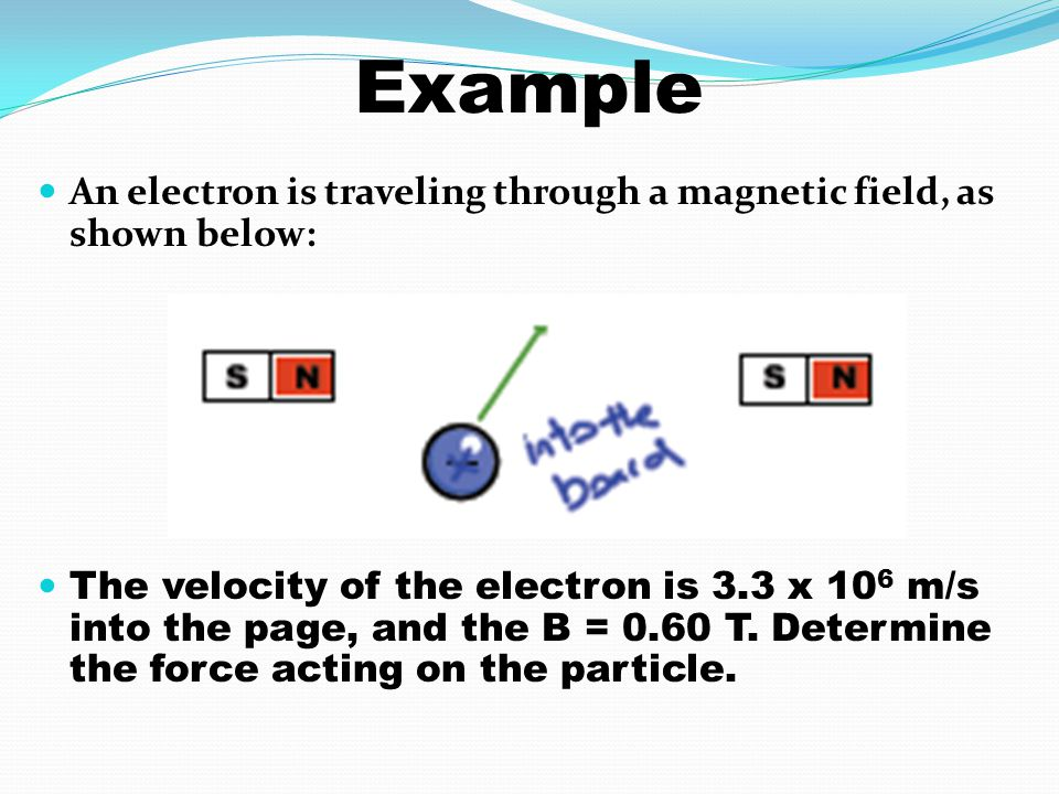 Example An electron is traveling through a magnetic field, as shown below:
