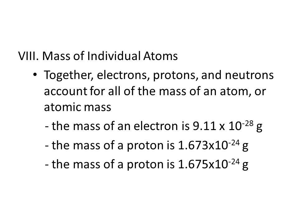 VIII. Mass of Individual Atoms