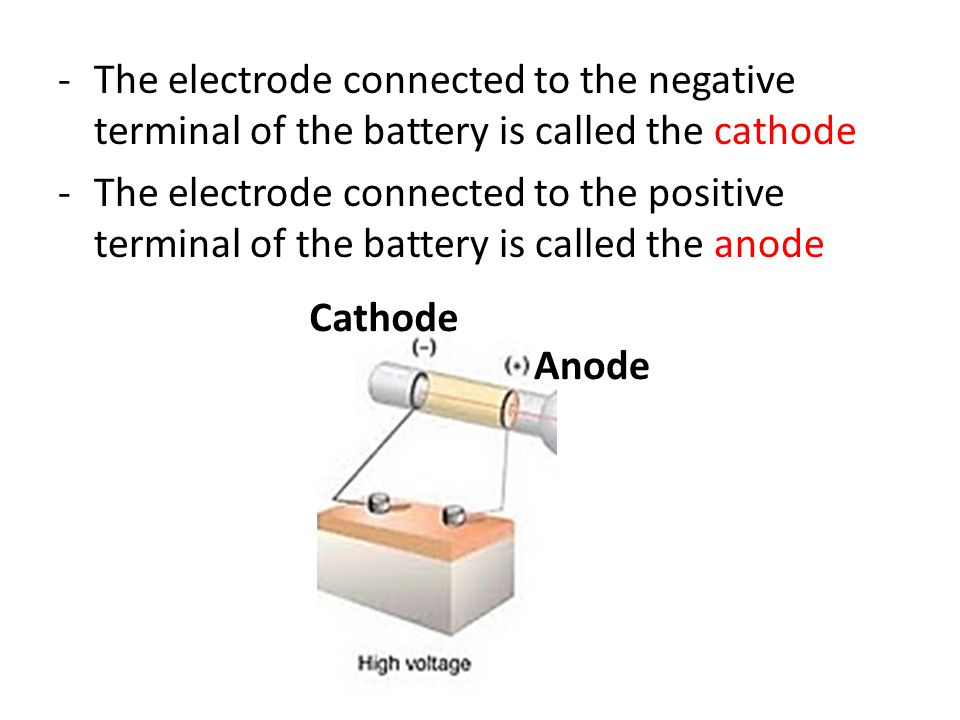 The electrode connected to the negative terminal of the battery is called the cathode