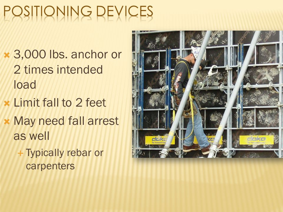 Positioning Devices 3,000 lbs. anchor or 2 times intended load