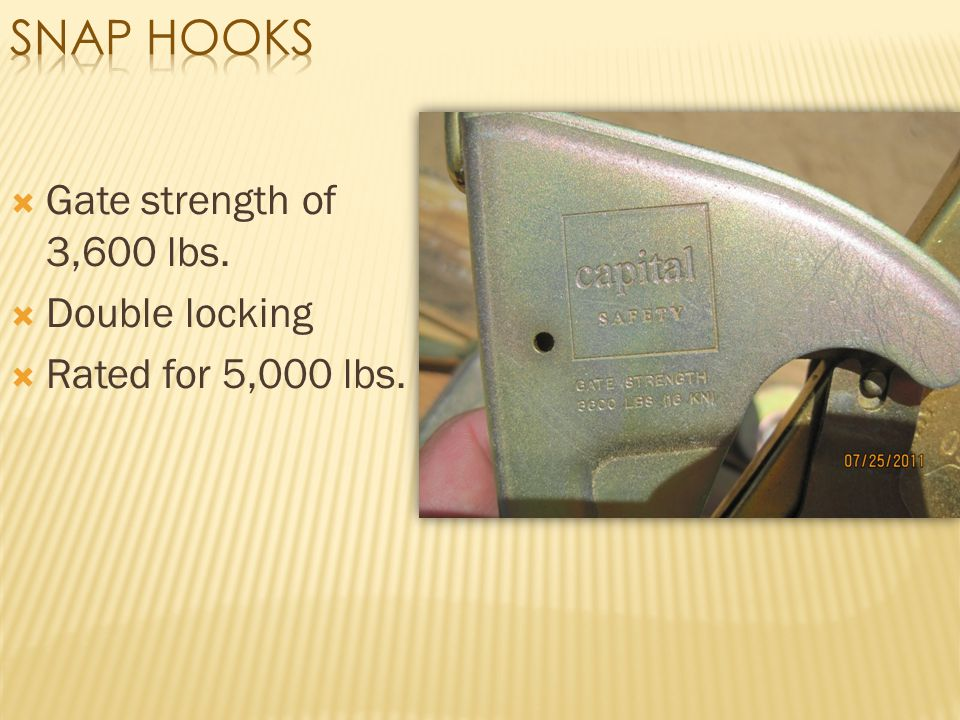 Snap Hooks Gate strength of 3,600 lbs. Double locking