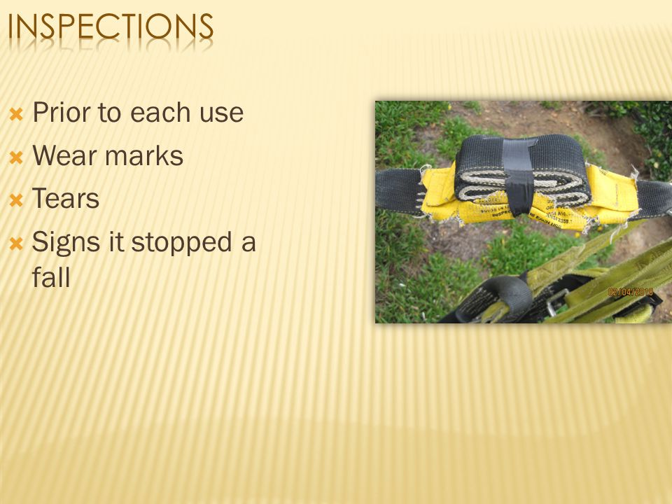 Inspections Prior to each use Wear marks Tears Signs it stopped a fall