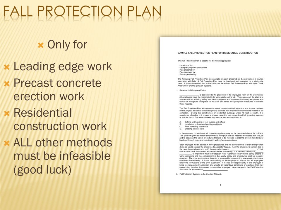 Fall Protection Plan Only for Leading edge work
