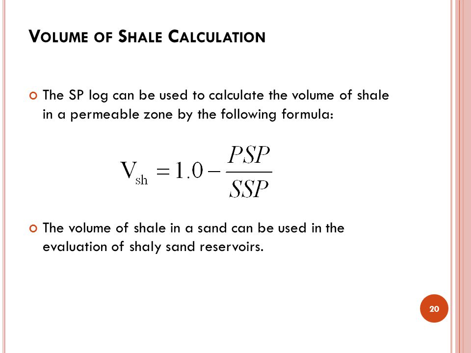 Volume of Shale Calculation