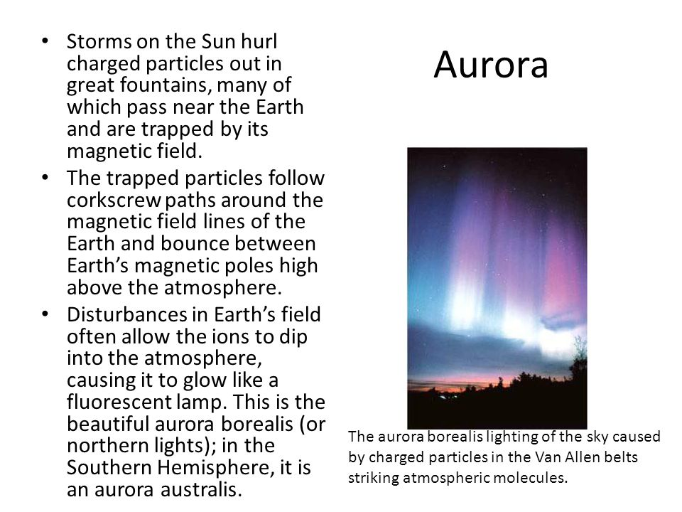 Aurora Storms on the Sun hurl charged particles out in great fountains, many of which pass near the Earth and are trapped by its magnetic field.