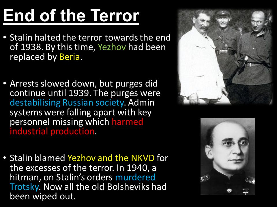 End of the Terror Stalin halted the terror towards the end of 1938. By this time, Yezhov had been replaced by Beria.