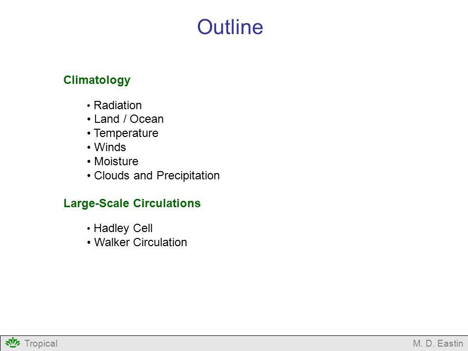 Outline Climatology Land / Ocean Temperature Winds Moisture