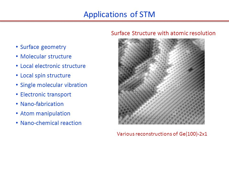 Applications of STM Surface Structure with atomic resolution