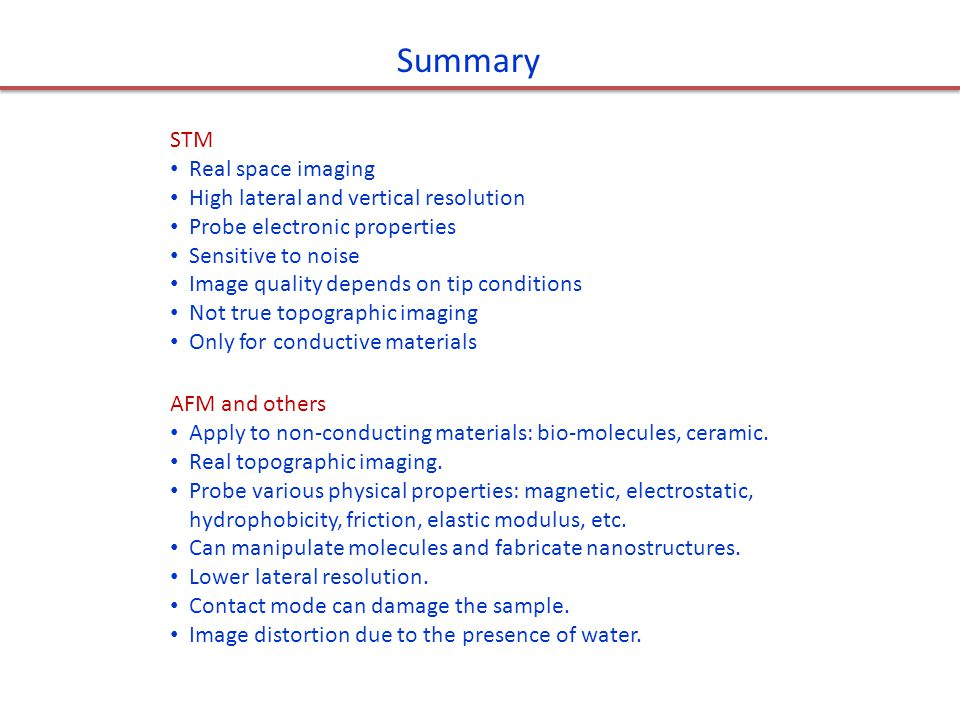 Summary STM Real space imaging High lateral and vertical resolution