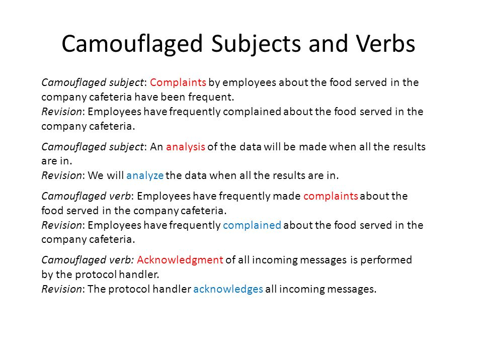 Camouflaged Subjects and Verbs