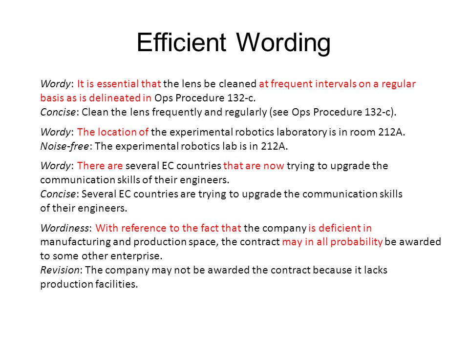 Efficient Wording Wordy: It is essential that the lens be cleaned at frequent intervals on a regular.