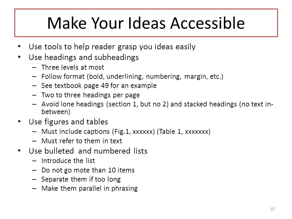 Make Your Ideas Accessible