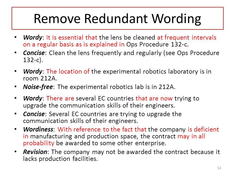 Remove Redundant Wording
