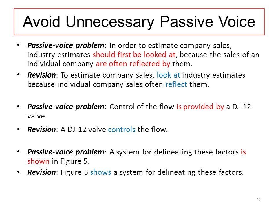 Avoid Unnecessary Passive Voice