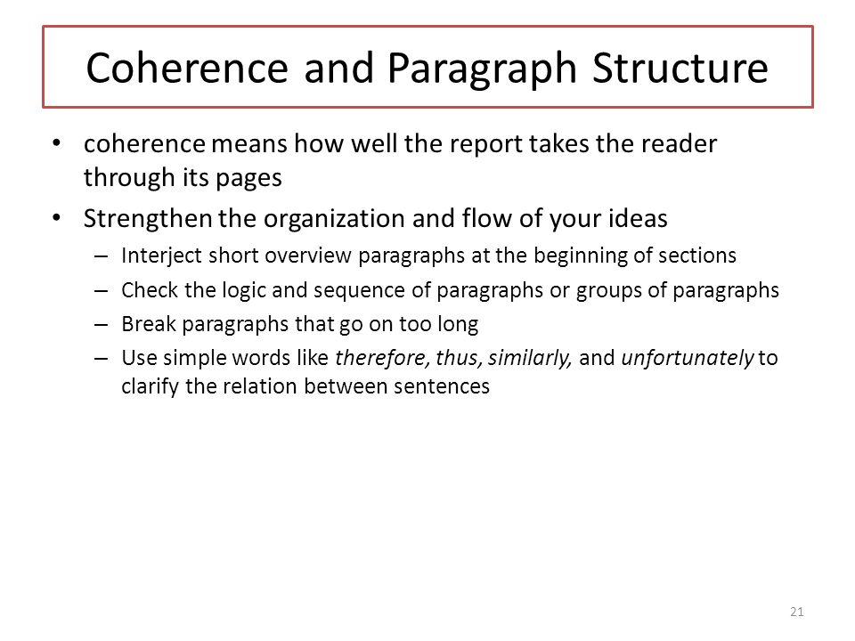Coherence and Paragraph Structure