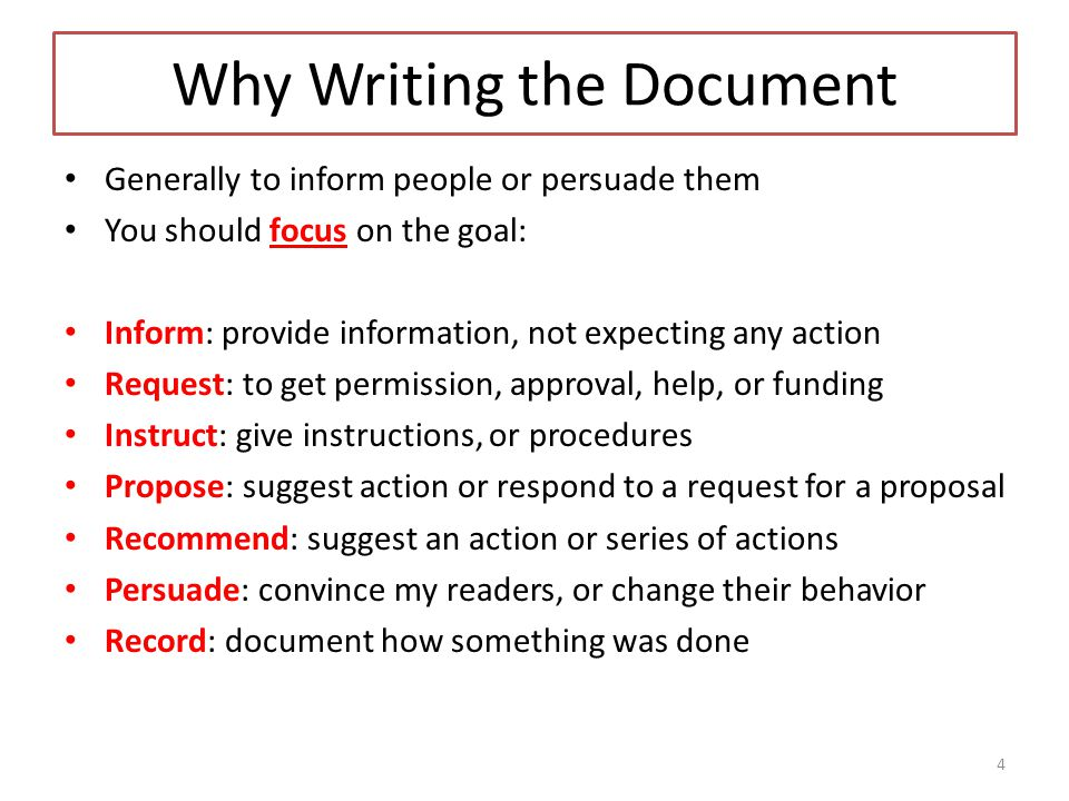 Why Writing the Document