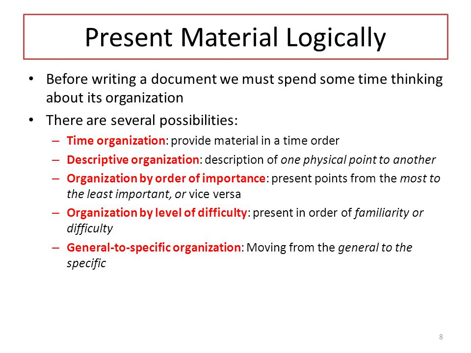 Present Material Logically