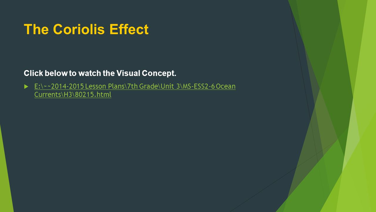 The Coriolis Effect Click below to watch the Visual Concept.