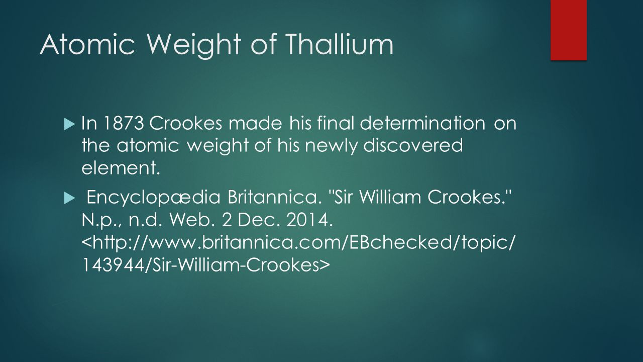 Atomic Weight of Thallium