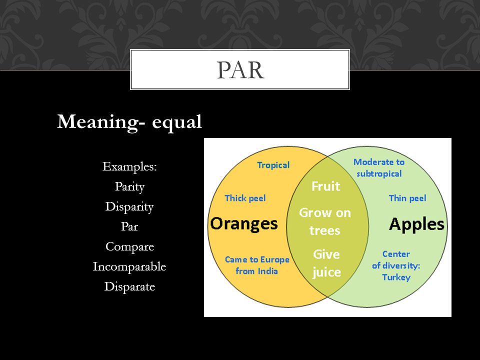 par Meaning- equal Examples: Parity Disparity Par Compare Incomparable