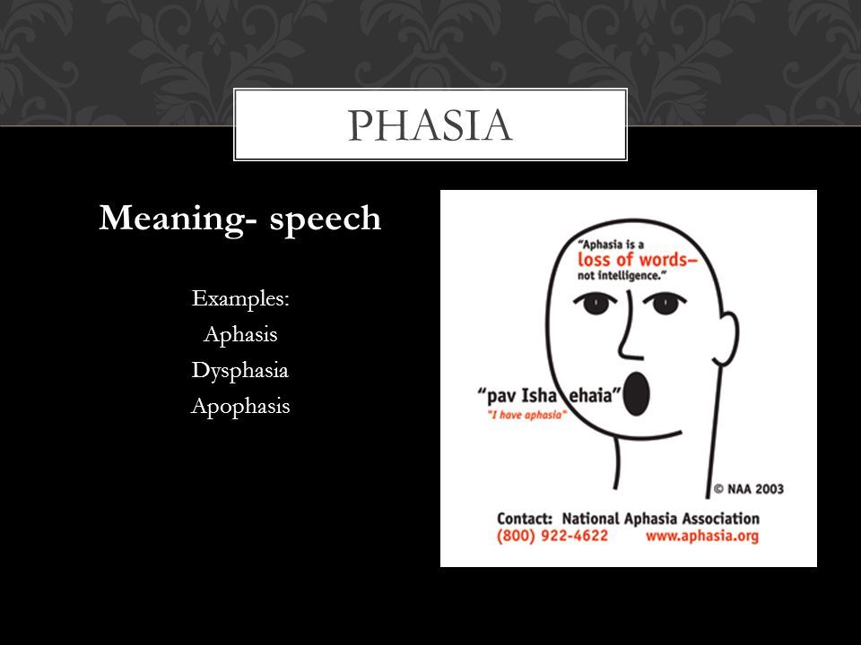 phasia Meaning- speech Examples: Aphasis Dysphasia Apophasis