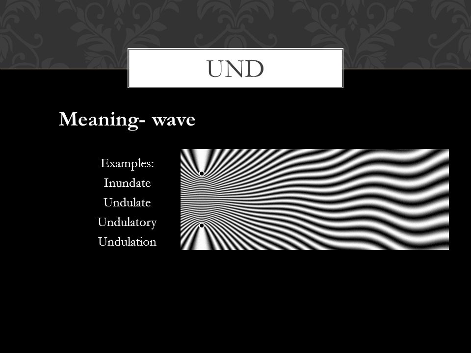 und Meaning- wave Examples: Inundate Undulate Undulatory Undulation