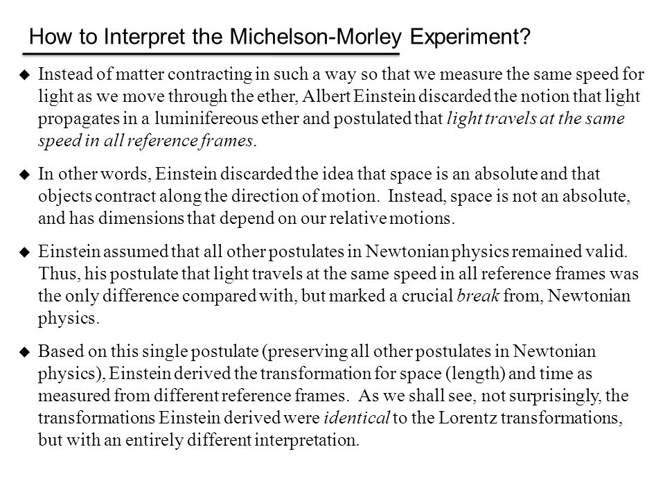 How to Interpret the Michelson-Morley Experiment