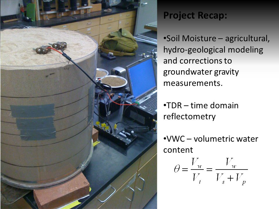 Project Recap: Soil Moisture – agricultural, hydro-geological modeling and corrections to groundwater gravity measurements.