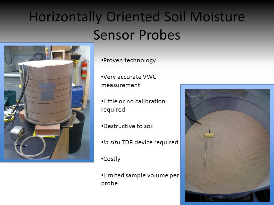 Horizontally Oriented Soil Moisture Sensor Probes