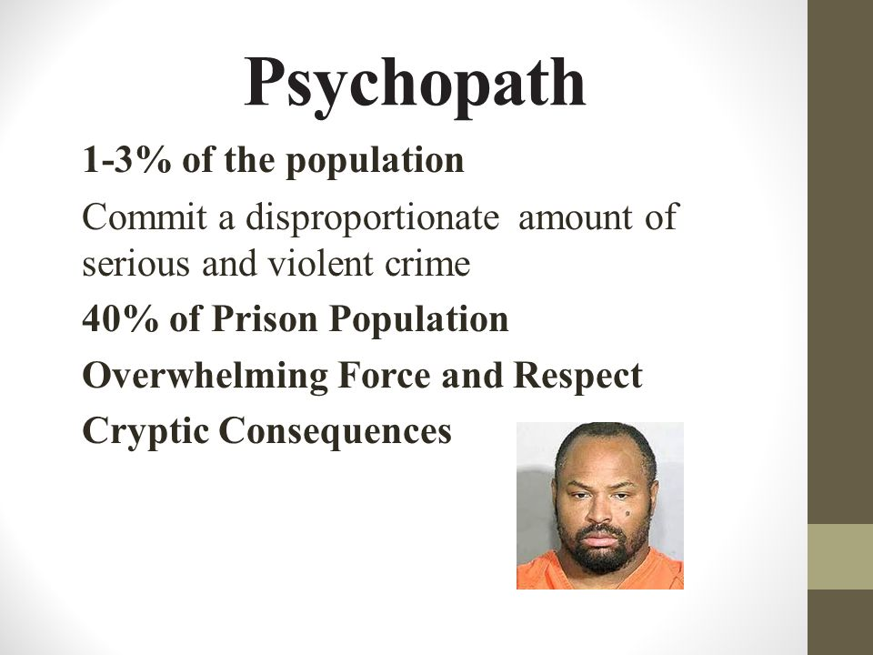 Psychopath 1-3% of the population