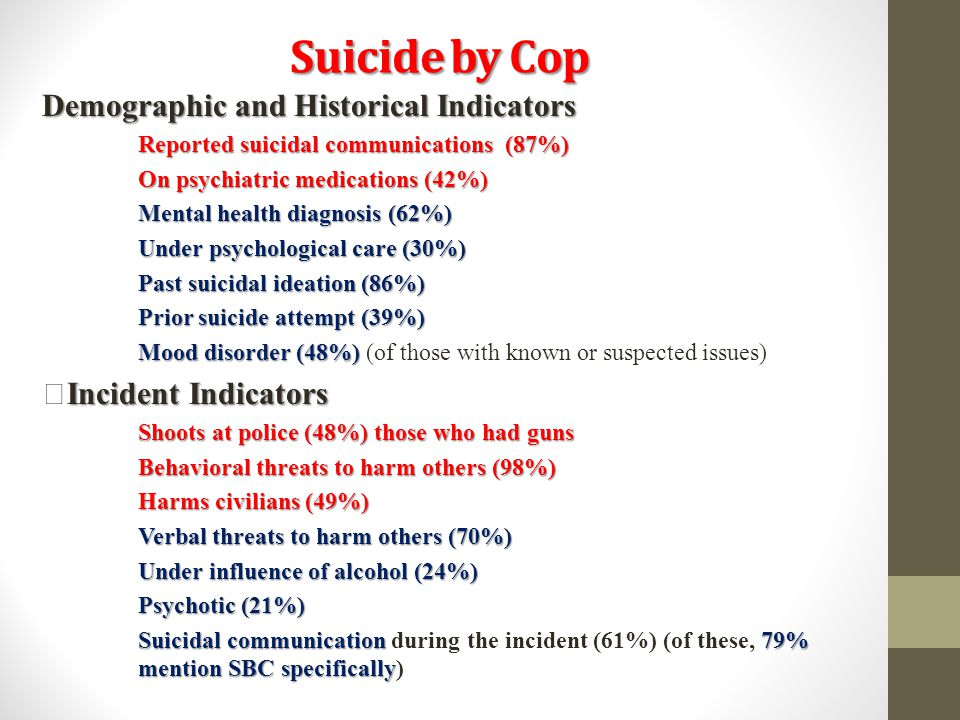 Suicide by Cop Demographic and Historical Indicators