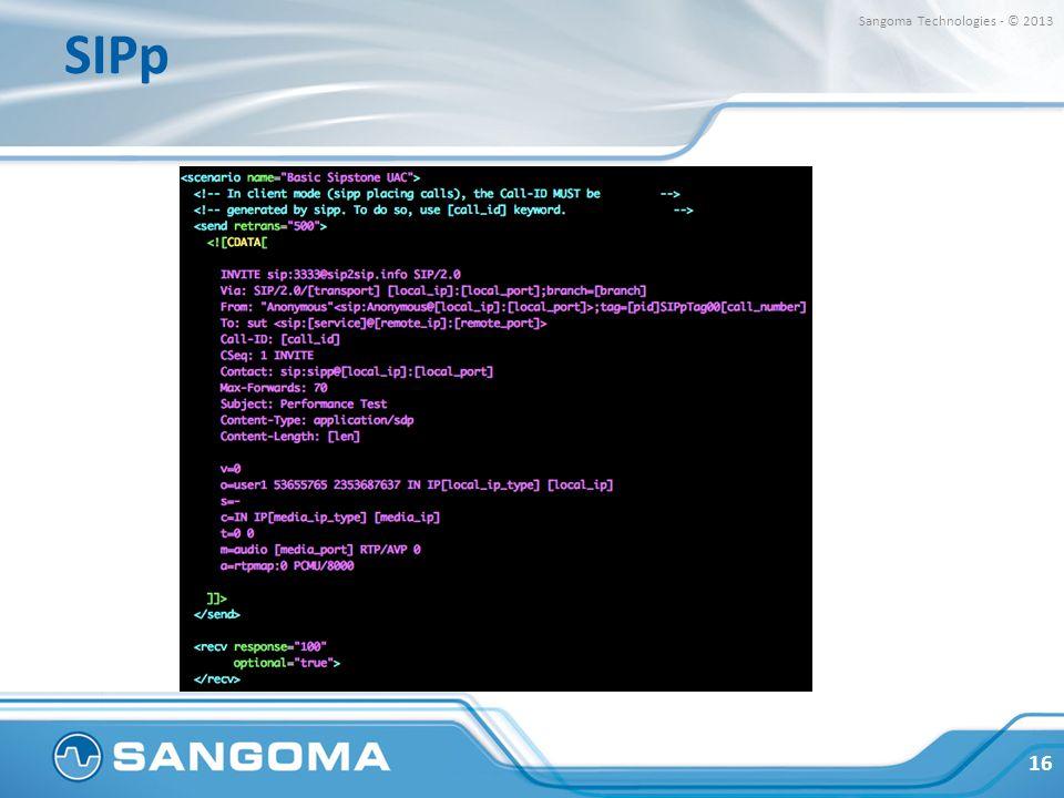SIPp Sangoma Technologies - © 2013.