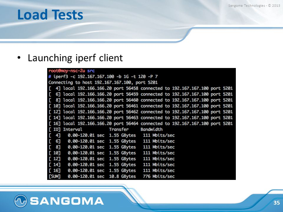 Load Tests Sangoma Technologies - © 2013 Launching iperf client