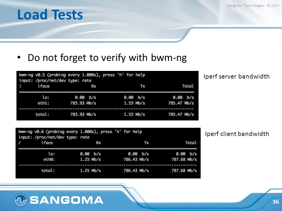 Load Tests Do not forget to verify with bwm-ng Iperf server bandwidth
