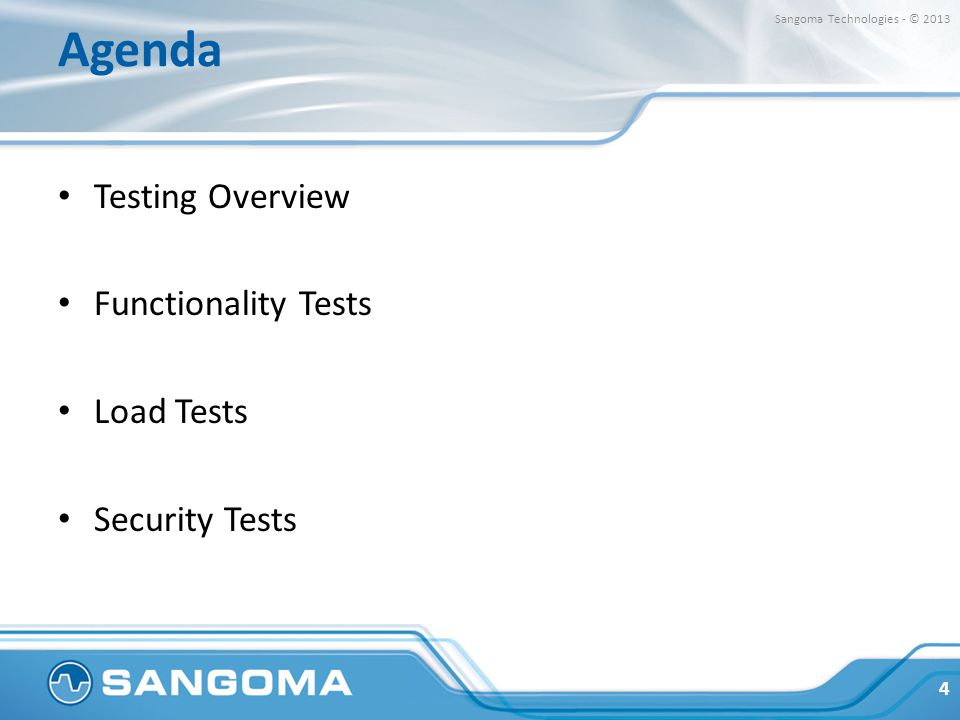 Agenda Testing Overview Functionality Tests Load Tests Security Tests