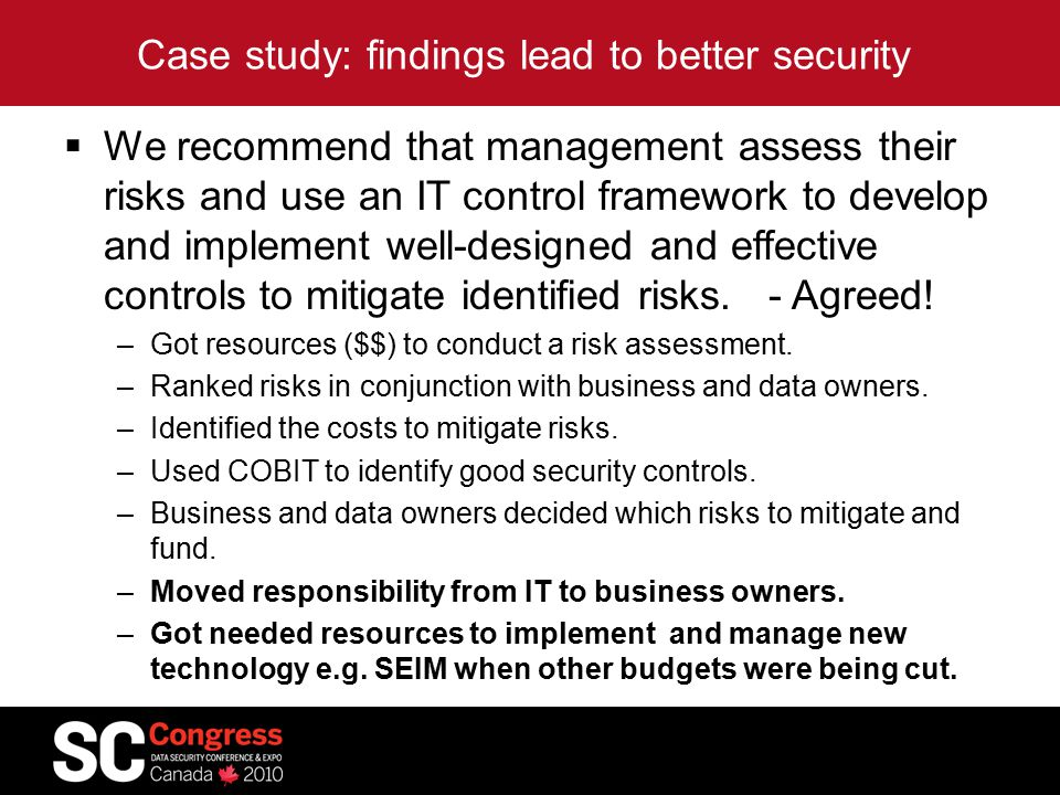 Case study: findings lead to better security