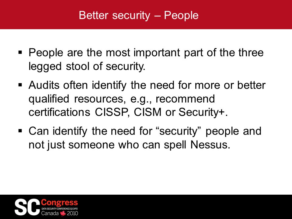 Better security – People