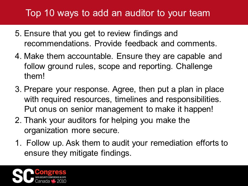 Top 10 ways to add an auditor to your team