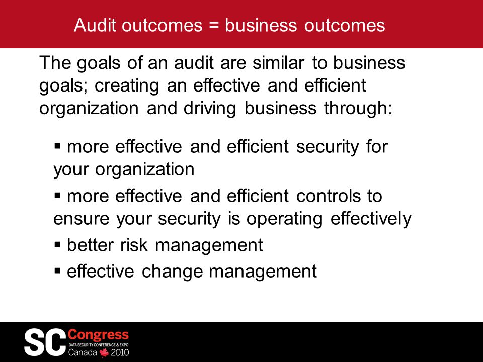 Audit outcomes = business outcomes