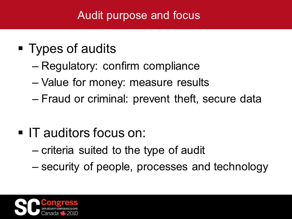 Audit purpose and focus