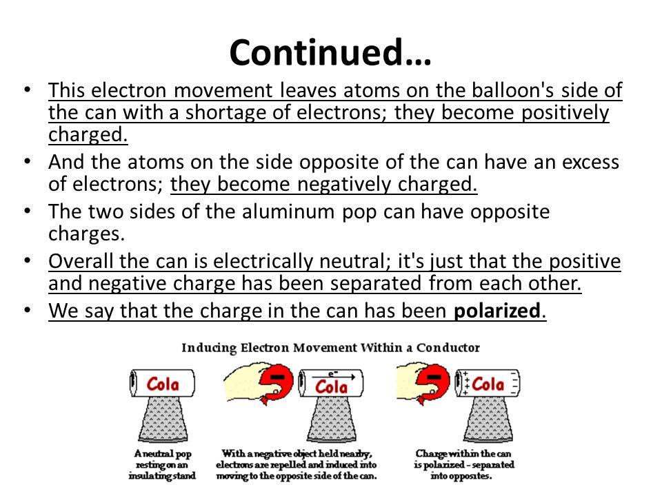 Continued… This electron movement leaves atoms on the balloon s side of the can with a shortage of electrons; they become positively charged.