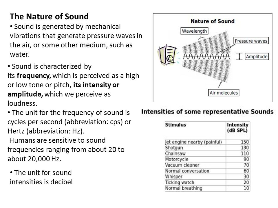 The Nature of Sound Sound is generated by mechanical vibrations that generate pressure waves in the air, or some other medium, such as water.